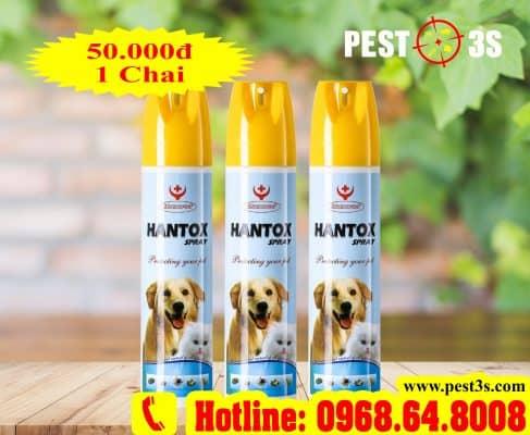 Hantox SPRAY (300ml) - (SX tại VIỆT NAM) - Thuốc xịt trị bọ chét, bét, ve, chấy, rận...cho Chó Mèo